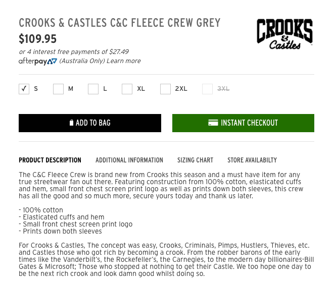 Crooks and Castles C&C Fleece Product Description